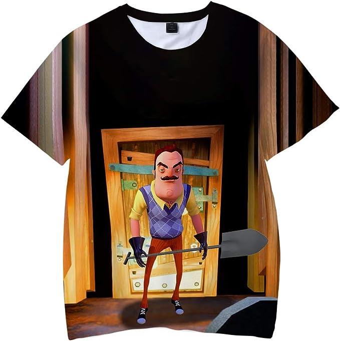 Hello Neighbor Camiseta Sin Mangas de la Camisa Medio-Manga de Moda Ocasional de la Manera Camiseta Superior Delgada clásica Suelta Cuello Redondo y Transpirable La Mitad de Manga Camiseta: Amazon.es: Ropa y