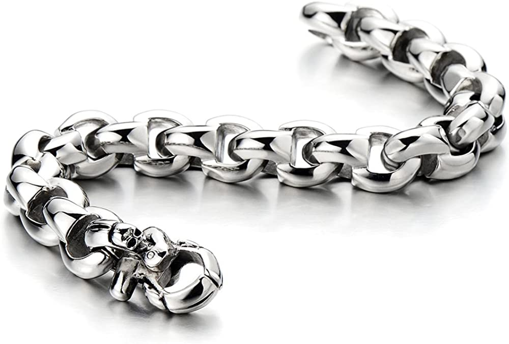 COOLSTEELANDBEYOND Mens Link Chain Wheat Chain Bracelet with Skull Stainless Steel High Polished