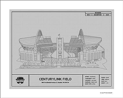 Amazon.com: Seattle Seahawks CenturyLink Field Blueprint Art Gift ...