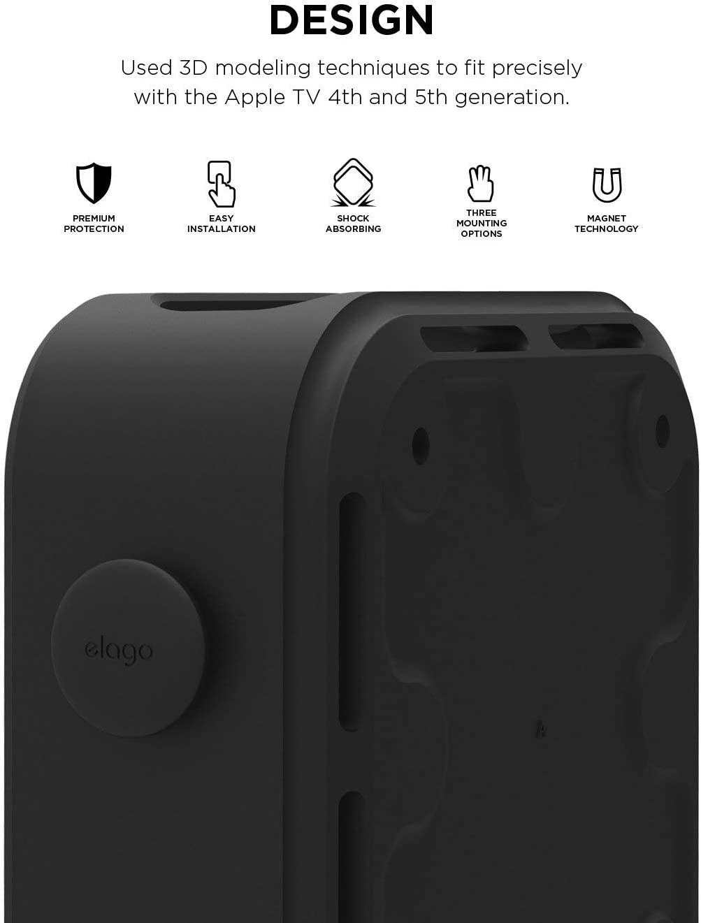 elago Apple TV Multi Mount Bundle with Apple TV Remote Holder – Compatible with All Apple TVs Including Apple TV 4K HD