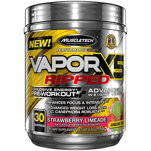 Nitro Fusion Berry - MuscleTech Vapor X5 Next Gen Pre Workout Powder & Weight Loss Supplement, Explosive Energy & Advanced Weight Loss, Strawberry Limeade, 30 Servings,6.50 Ounce,Pack of 1