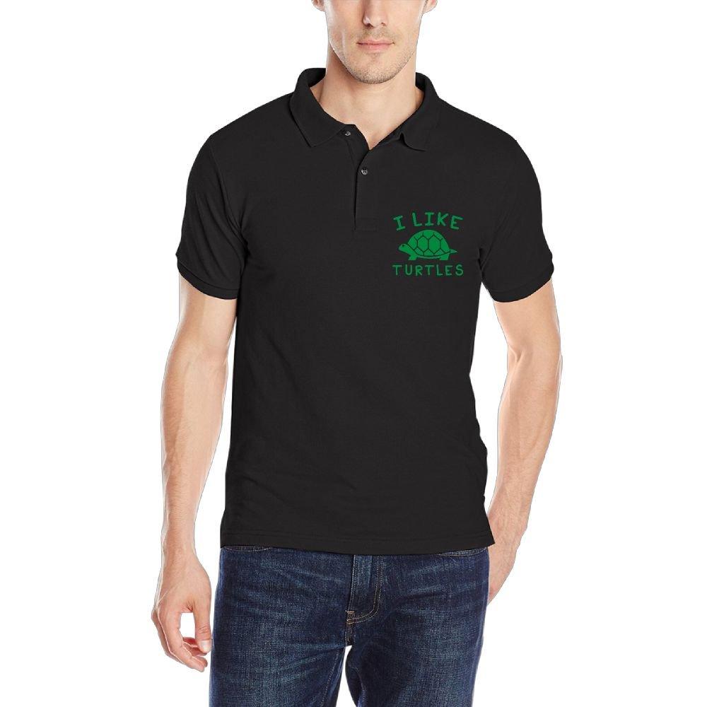 DAD97KHG I Like Turtles Mens Short-Sleeve Polo T Shirt