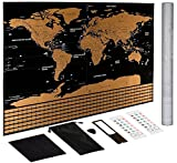 Scratch Off Map of World Poster! Newest Black and Gold Map Deluxe Edition + Packaging Tube. 32 x 23 Large World Map Poster. Great gift for anyone who travels!