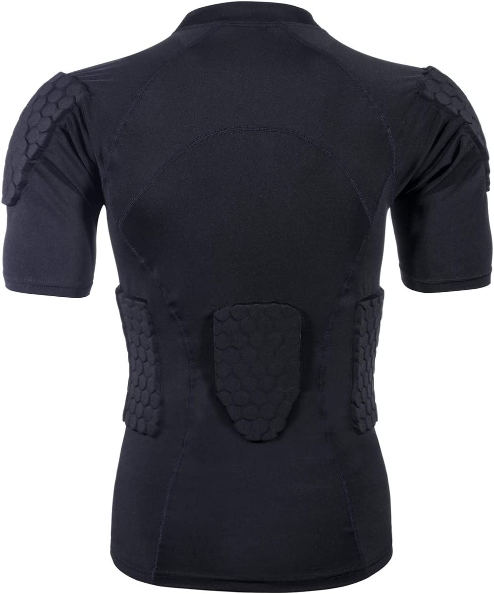 Men's Sports Shock Rash Guard Compression Padded Shirt Soccer Basketball Protective Gear Chest Rib Guards : Sports & Outdoors