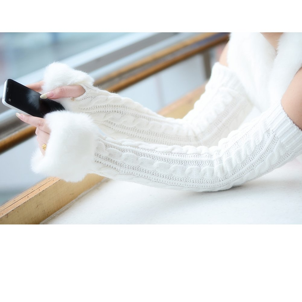 Womens Girls Winter Wool Knit Gloves Warm Faux Fur Fingerless Gloves Mitten Xmas Present Long/Medium/Short Sleeve