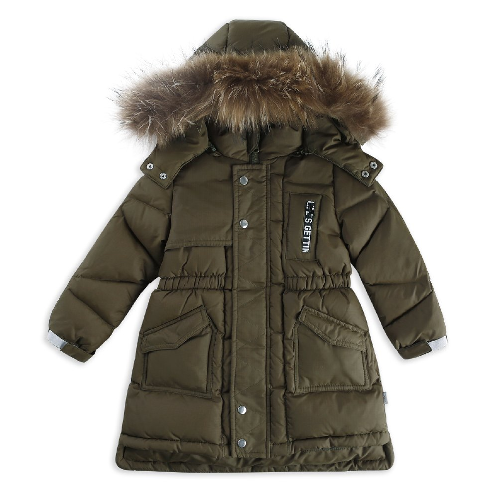 OK.OU Baby Little Boys Long Pure Color Stand Collar Hooded White Duck Down Overcoat (90%) (6, Green)