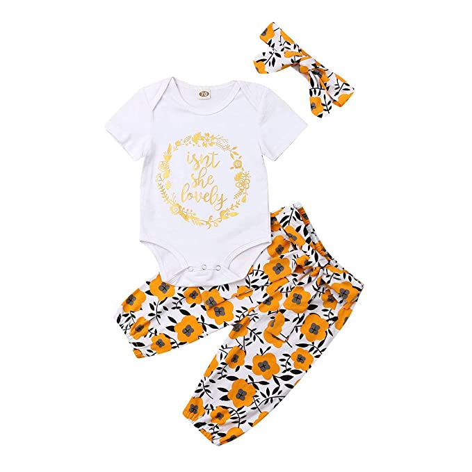 Newborn Infant Baby Girl Cotton Romper Jumpsuit Bodysuit Headband Clothes Outfit