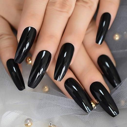 JZJZJ uñas postizas Extra largas uñas Negras Brillantes uñas ...