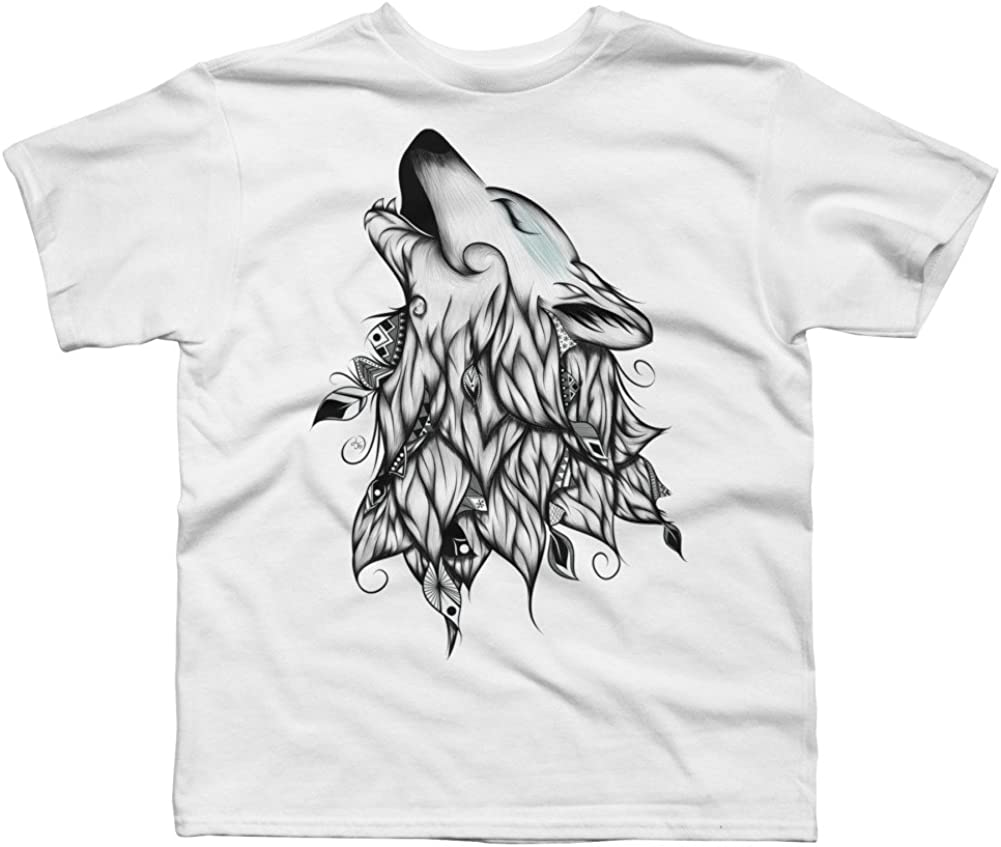 Design By Humans Wolf Boys Youth Graphic T Shirt