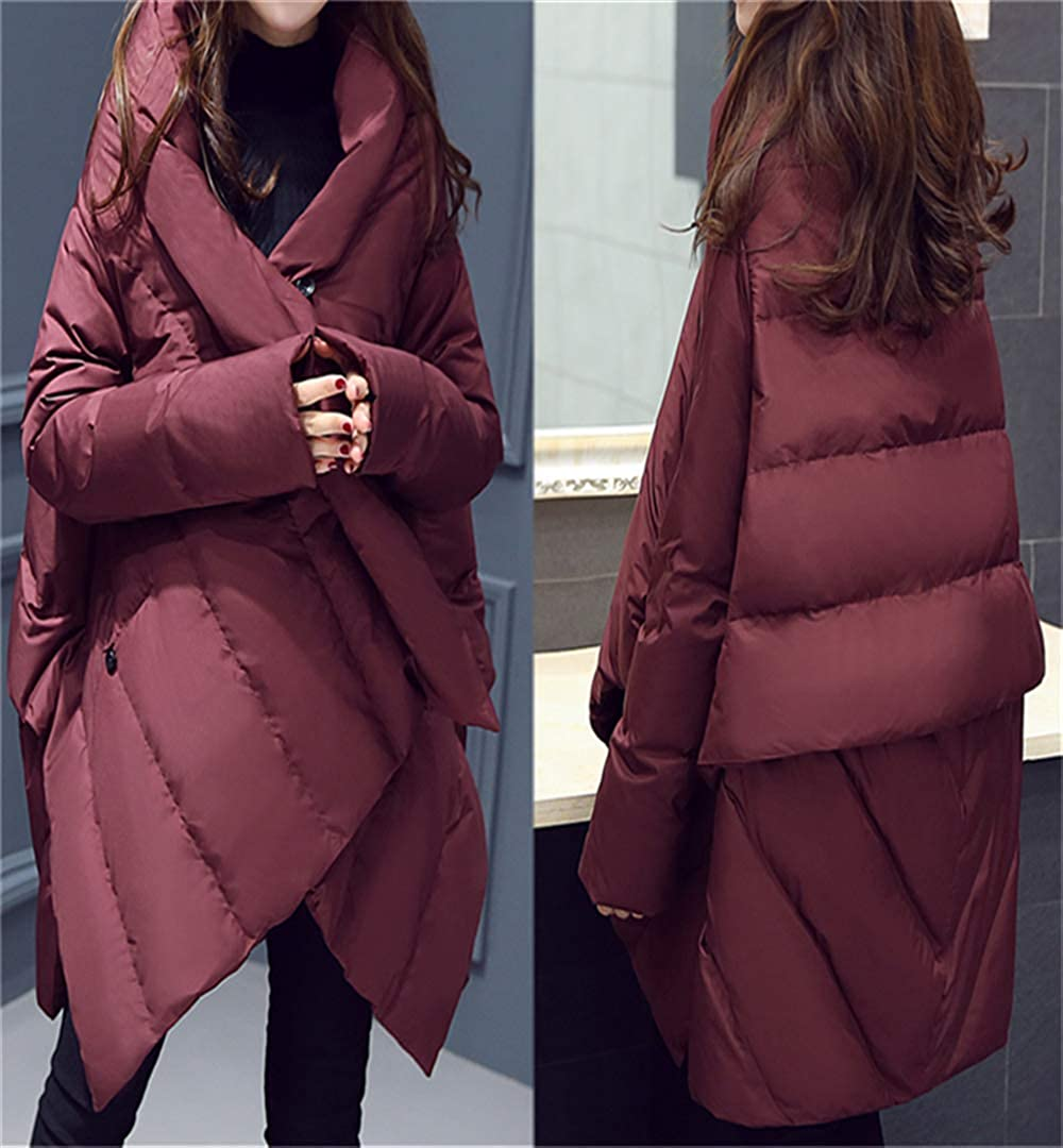 Dotoo Winter Womens Wine Loose Polyester Down Jacket 91/%~95/% White Duck Down