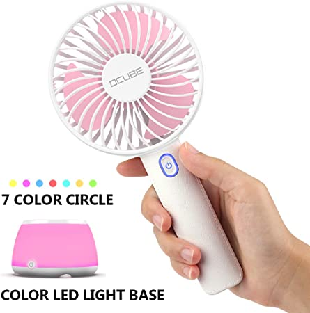 Outdoor Travel Office USB Fans Hot Weather Fan Handheld Mini USB Rechargeable Home Desktop Phone Stand Air Cooling Fan for Home Color : Pink