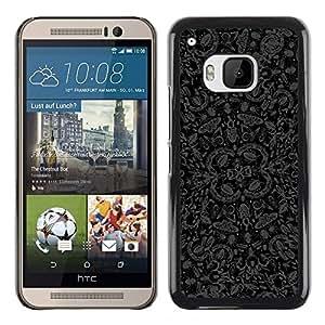 KOKO CASE / HTC One M9 / papel pintado mariposas insectos naturaleza arte gris negro / Delgado Negro Plástico caso cubierta Shell Armor Funda Case Cover
