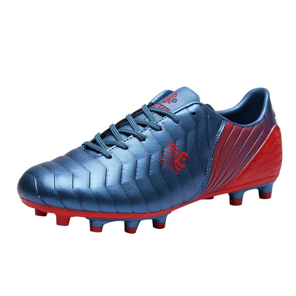 Women Men Soccer Shoes Non-Slip Comfortable Football Outdoor Athletic Sneaker (US:7.5, Blue) by Suoxo Men Shoes