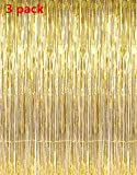 QIN JU 3X Foil Curtains Metallic Fringe Shimmer Photo Backdrop 3x8 ft for Birthday Party Wedding Decor Party Decorations (Gold)