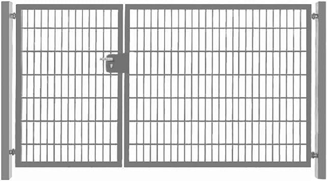 Puerta de doble hoja, 500 cm, asimétrica, puerta de jardín galvanizada, incluye cerradura.: Amazon.es: Bricolaje y herramientas
