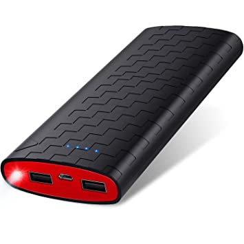 Batería Externa Power Bank 20000mAh Cargador Portátil Sipu Cargador Móvil Portátil Carga con 2A de Entrada, Luces LED y 2 Puertos de Carga para ...