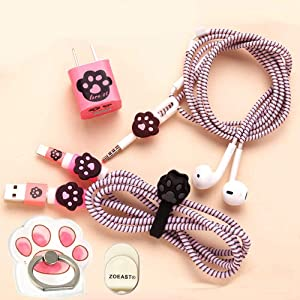 ZOEAST(TM) DIY Protectors Pink Kitty Sole Apple Data Cable USB Charger Data Line Earphone Wire Saver Protector Compatible with iPhone 5 5S SE 6 6S 7 8 Plus X IPad iPod iWatch (Basic Styles, Cat Paw)