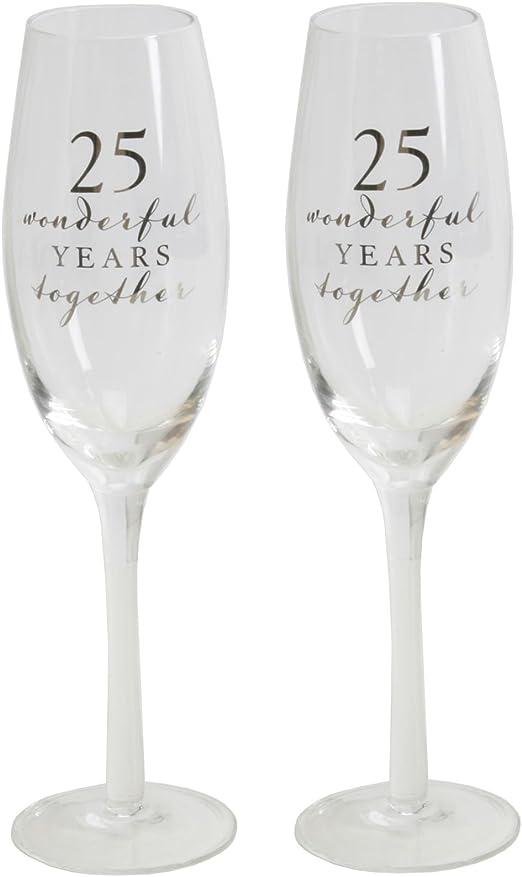 Juego de 2 Happy 25th aniversario de boda copas de champán de ...