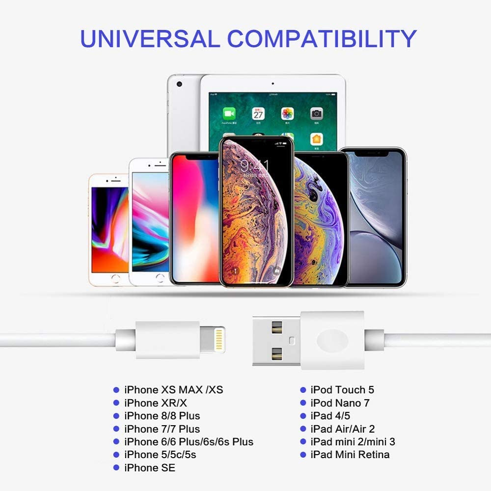 Phone Charging Cable,Durable Fast Charging Cable Phone Cord High Speed Connector Data Sync Transfer Cord Compatible with Phone Xs//Xr//8//8Plus//7//7Plus//6//6Plus and More 4-Pack