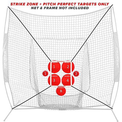 (PowerNet Pitch Perfect Targets and Strike Zone Attachment for 7x7 Net Bundle | Baseball Softball Pitching Trainer | 3 Size Target Set | Increase Pitching Throwing Accuracy Location | Training Aid)
