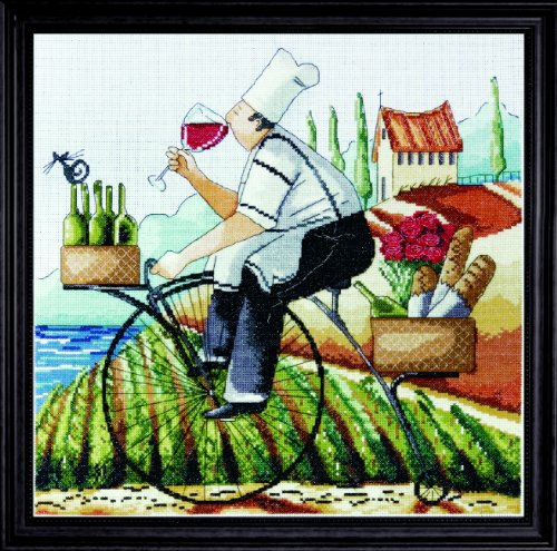 Baguette Set Cross - Counted Cross Stitch, Fine Wine, 14 by 14 inches