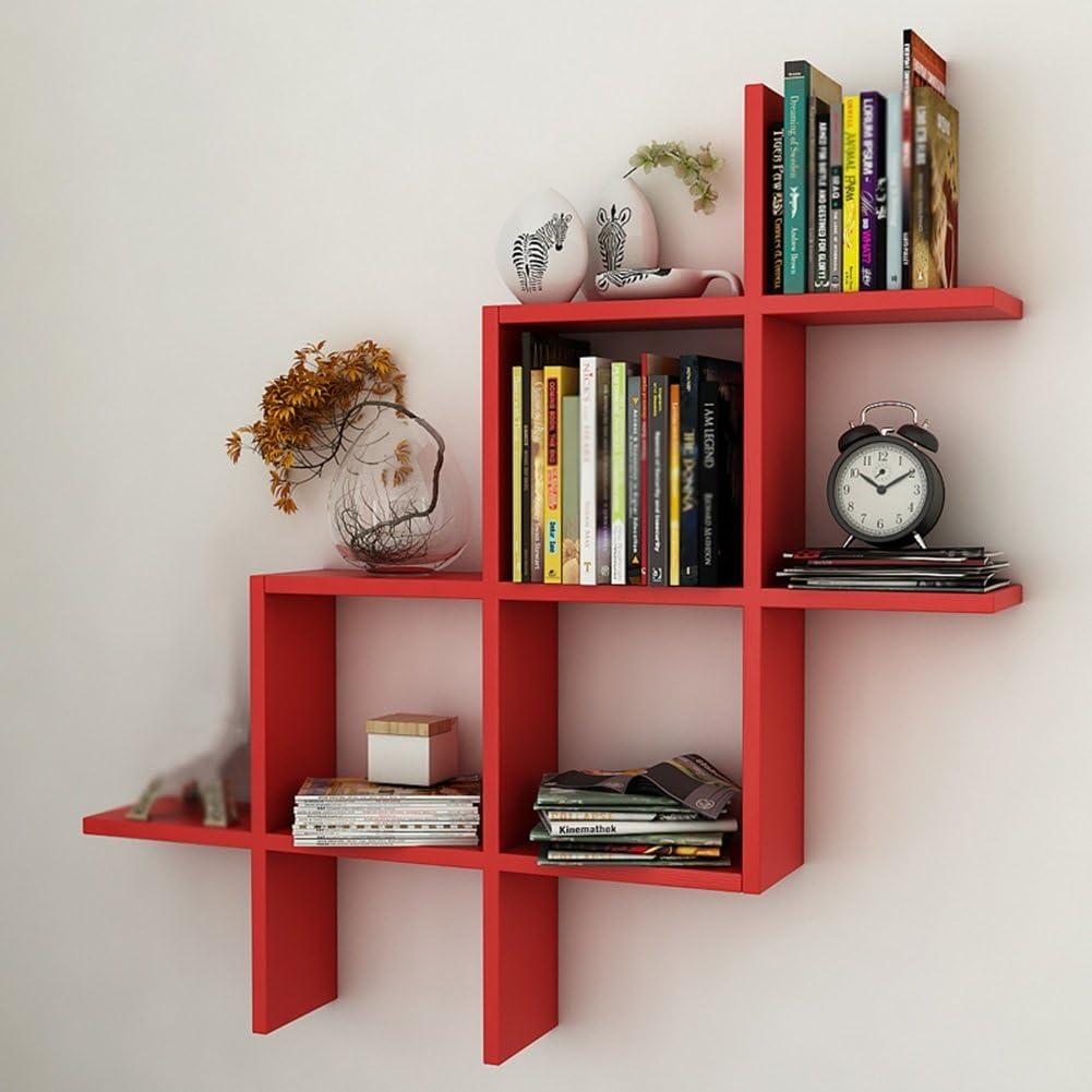 Jwz Multi Function Bookshelf Wall Hanging Bookshelf Bedroom Bookshelf Goods Shelf Color Red Amazon Co Uk Kitchen Home