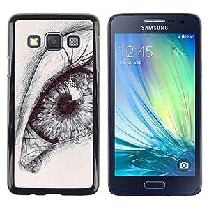 FlareStar Colour Printing Eye Drawing Pencil Art Deep Pupil Sketch cáscara Funda Case Caso de plástico para Samsung Galaxy A3 / SM-A300