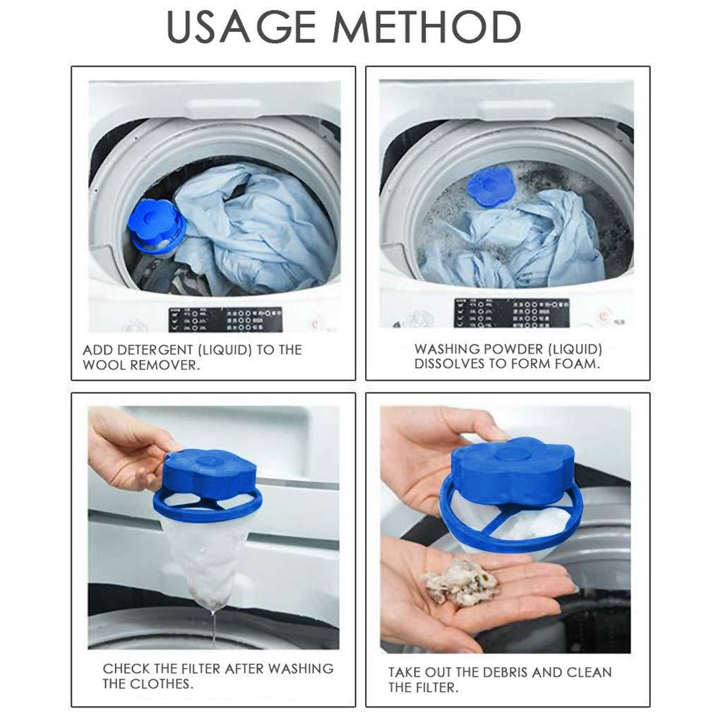 A veyikdg Flint sur charpie Enl/èvement Attrape-cheveux Trousse /à mailles Poche en forme de fleur bleue Sac de lavage Outil gadget de m/énage Sacs pour Net Filtre /à linge pour machine /à laver