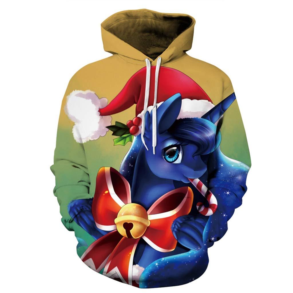 Felpa Unisex Per Natale, 3D Cartoon Cute Christmas Hat Unicorn Brutto Natale Hoodie Pullover Felpa Couple Costume Fancy Dress (Best Gift),XXL