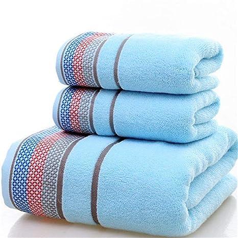 YANG Toalla de algodón Cubierta Suave y Absorbente Juego de Toallas de baño de Tres Piezas