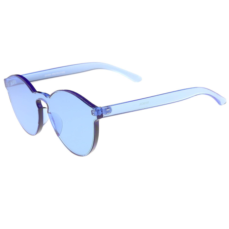 af622ca52f9a4 Amazon.com  One Piece PC Lens Rimless Ultra-Bold Colorful Mono Block  Sunglasses 60mm (Blue)  Clothing
