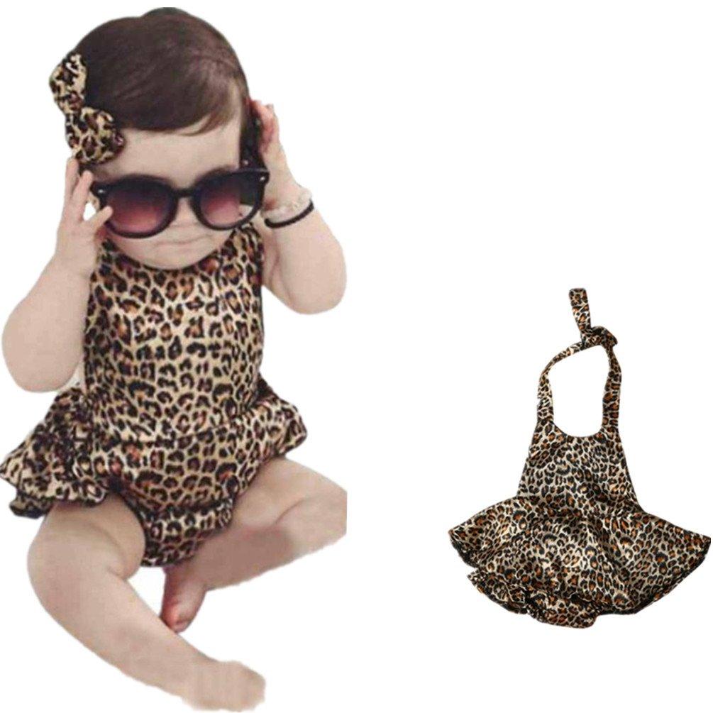 Franterd Romper Newborn Baby Girl Leopard Bodysuit Jumpsuit+Headband Clothes Outfits Sets