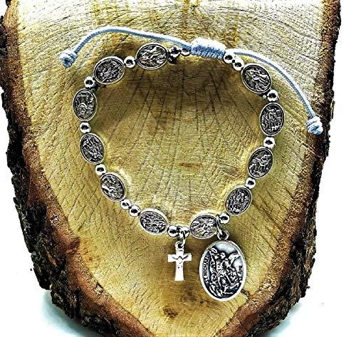 Rosary Bracelet/St Michael Chaplet/Men Women Patron Saint Catholic Protection Medals