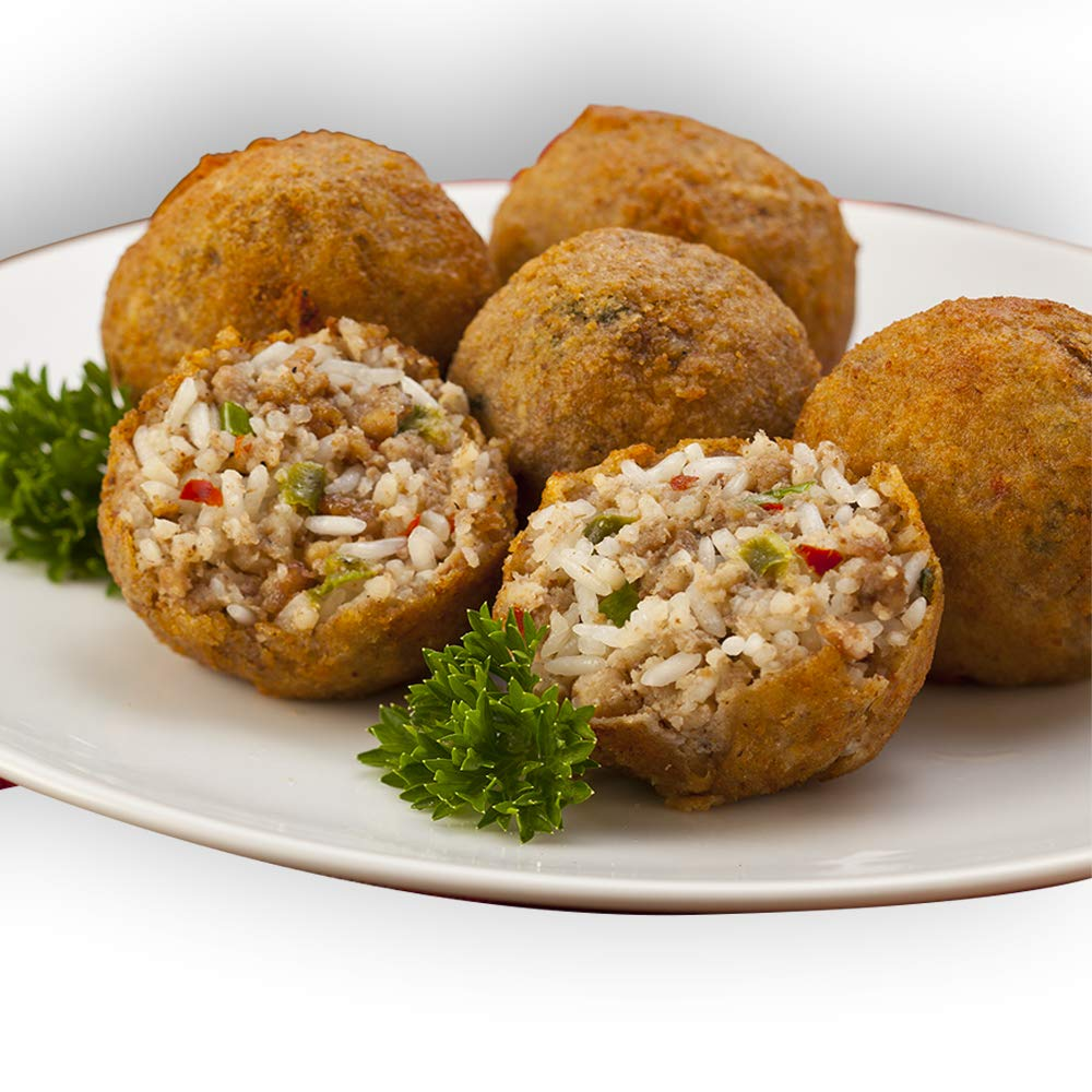 Boudin Balls 24oz. (12 balls) | Louisiana's legendary famous comfort food. filled with pork meat and rice boudin mixture then bathed in egg wash and layered with bread crumbs and flour.