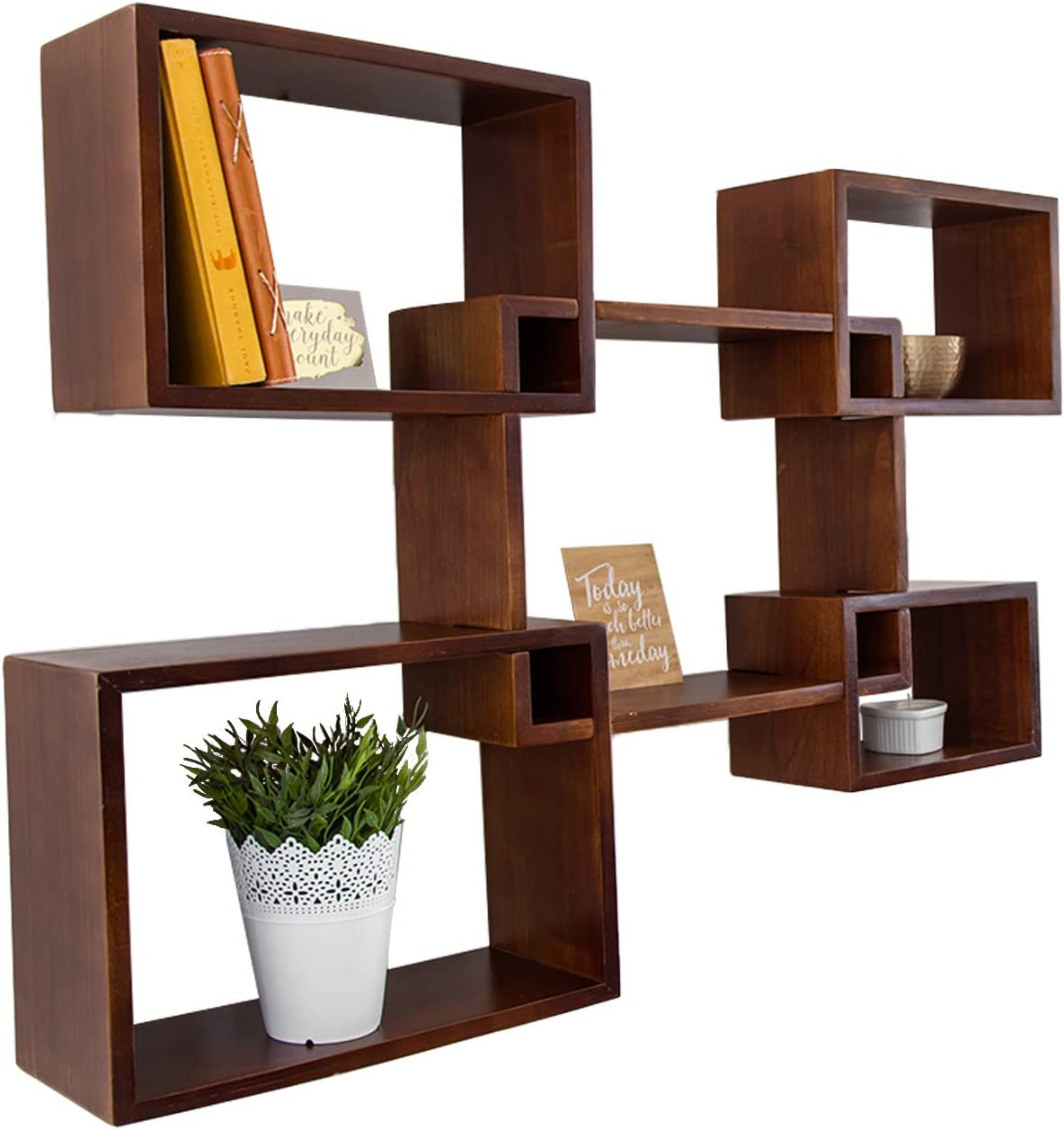 Modern Wall Mounted Square Shaped Floating Shelves – Set of 5 Square Shelves for Bathroom, Bedroom, Living Room & More - Screws and Anchors Included – Rustic Wall Décor Display for Home - Brown