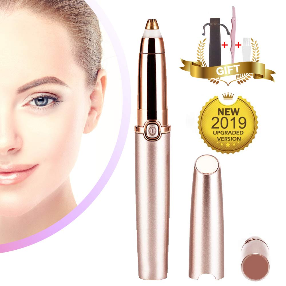 Eyebrow Hair Trimmer for Women,Jnuyisw Eyebrow Remover Razor Painless Facial Brows Hair Removal with LED Light,Rose Gold