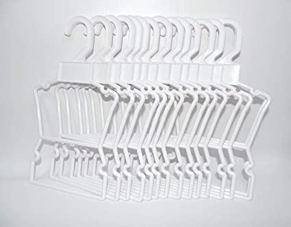 7 inch white hangers. One dozen plastic doll hangers for 18 inch doll clothes