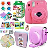 FujiFilm Instax Mini 9 Instant Camera FLAMINGO PINK + Fuji INSTAX Film (20 Sheets) + Instax Accessory Kit BUNDLE Includes; Pink Custom Fitted Case + Photo Album + Fun Frames + Stickers / Lenses + MORE