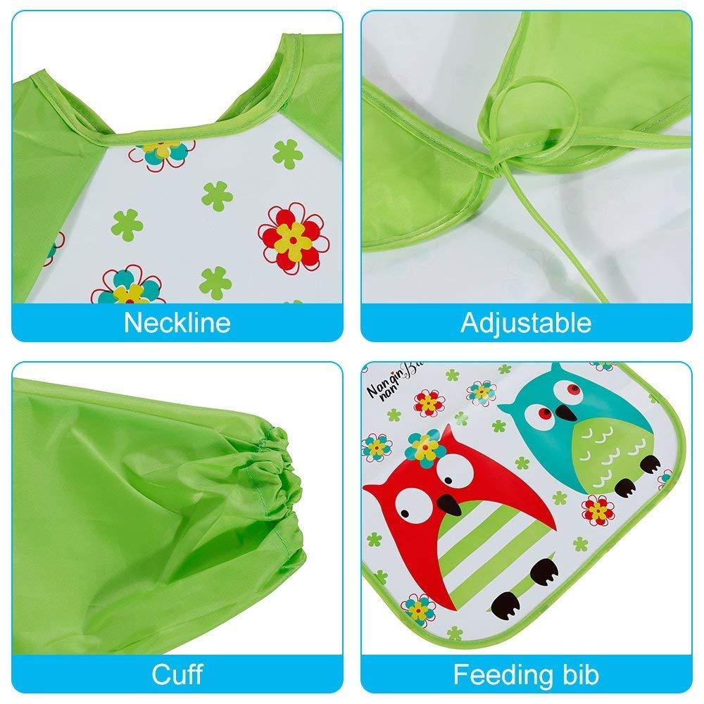 Baberos con mangas de goma EVA para bebé, 3 unidades, impermeables ...
