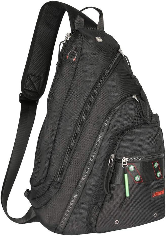 Larswon Sling Backpack, Sling Bag Laptop, Crossbody Bag Men, Shoulder Bags Black