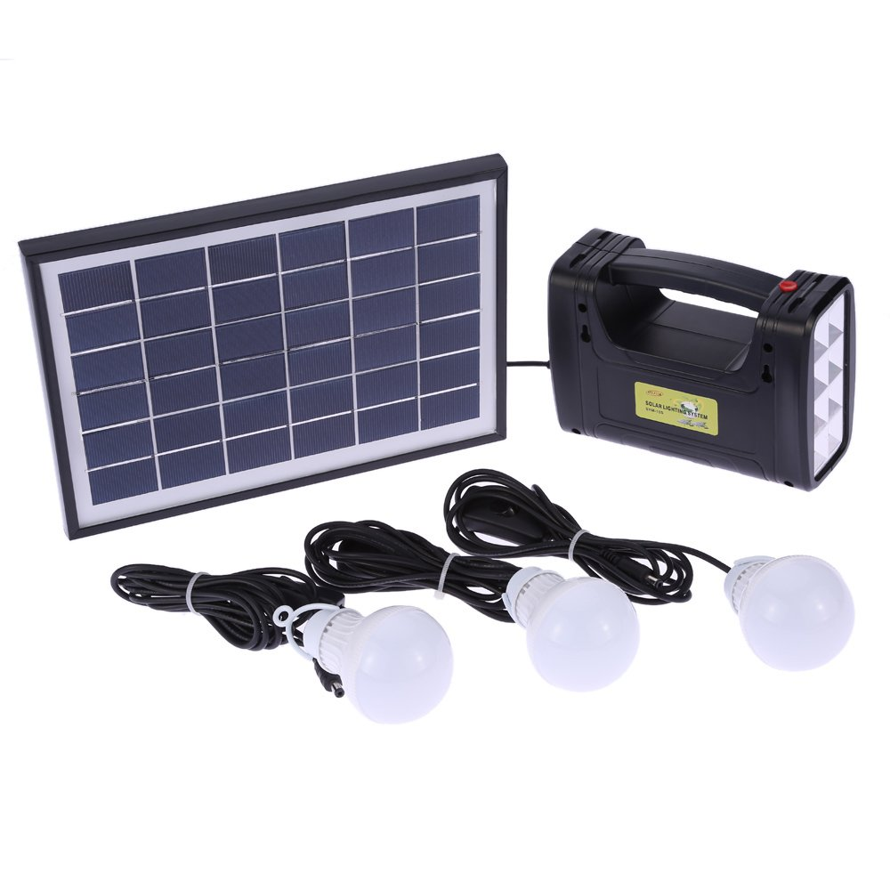 Decdeal Solar Panel Lighting System LED Light Lamp Battery Charger Kit Home Camping Outdoor Use USB DC Output