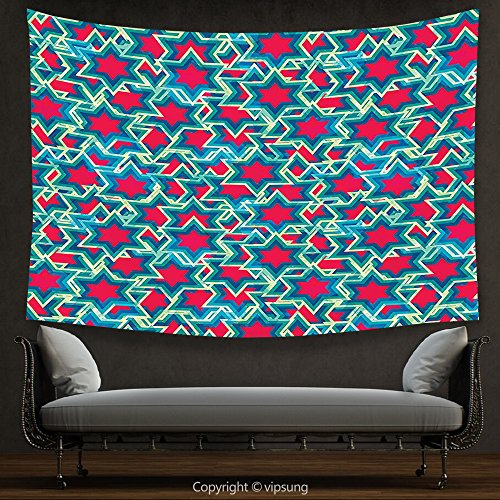 House Decor Tapestry House Decor Collection Abstract Retro Stars Pattern Mosaic Style Geometric Artistic Fun Bright Flashy Print Red Green Navy Wall Hanging For Bedroom Living Room Dorm