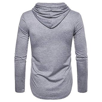 YanHoo Comprar Ropa Online Hombre Camisa con Capucha Superior de la Manga Larga de la impresión del otoño de la Raya del Invierno de la Moda de los Hombres: ...