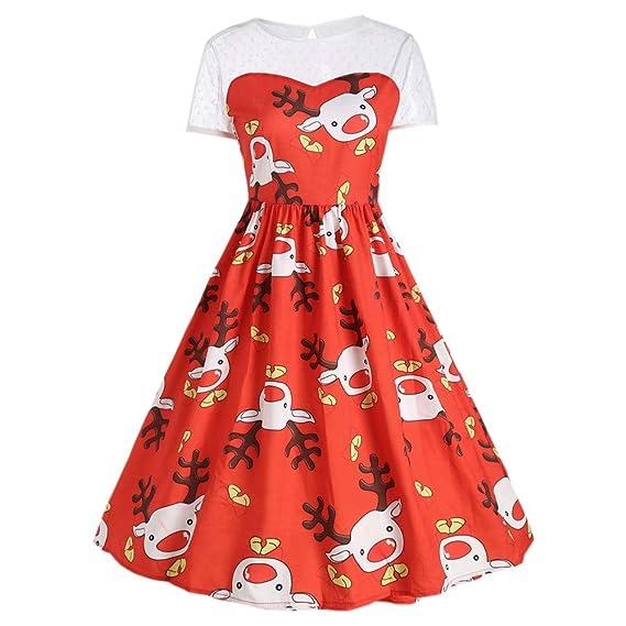 K-youth Vestido De Navidad Elegantes Mini Vestir Manga Corta Vestido para Mujer Elk Swing Vestidos De Fiesta Mujer Casual Christmas Party Dress Vintage Ropa ...