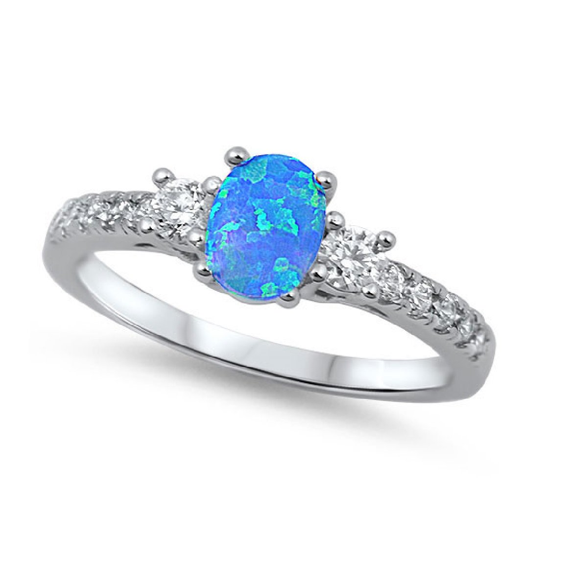 CloseoutWarehouse Oval Center Blue Simulated Opal Ring 925 Sterling Silver Size 5