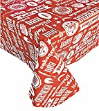 Newbridge Low and Slow Barbecue Theme Vinyl Flannel Back Tablecloth, Summer Vinyl Indoor/Outdoor Patio Tablecloth, 60' x 120' Oblong, Red