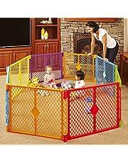 Toddleroo by North States Superyard Colorplay - Patio de juegos para bebés de 8 paneles: zona de juego segura en cualquier lugar. Se pliega con correa de transporte para un fácil viaje. Independiente. Caja de 34.4 pies cuadrados (66 cm de alto, multicolor)