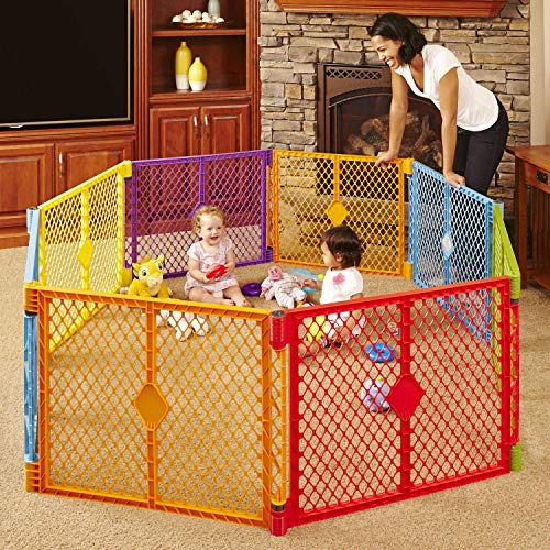 "North States Superyard Colorplay 8-Panel Play Yard: Safe play area anywhere - Folds with carrying strap for easy travel. Freestanding. 34.4 sq. ft. enclosure (26"" tall, Multicolor)"
