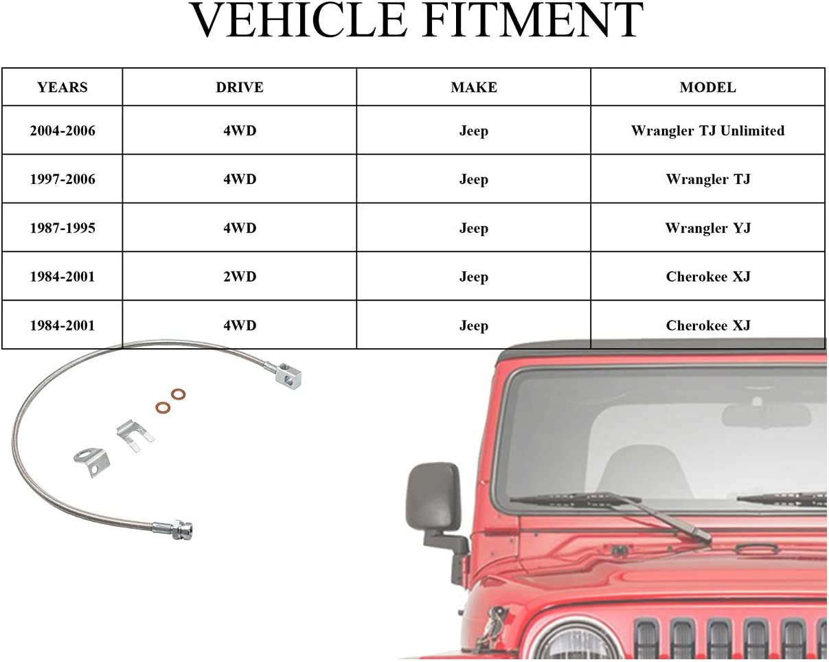 89703 Stainless Brake Line 4-6 suspension Lift 25 fits for 1984-2001 Jeep Cherokee XJ 1987-2006 Jeep Wrangler TJ LJ YJ