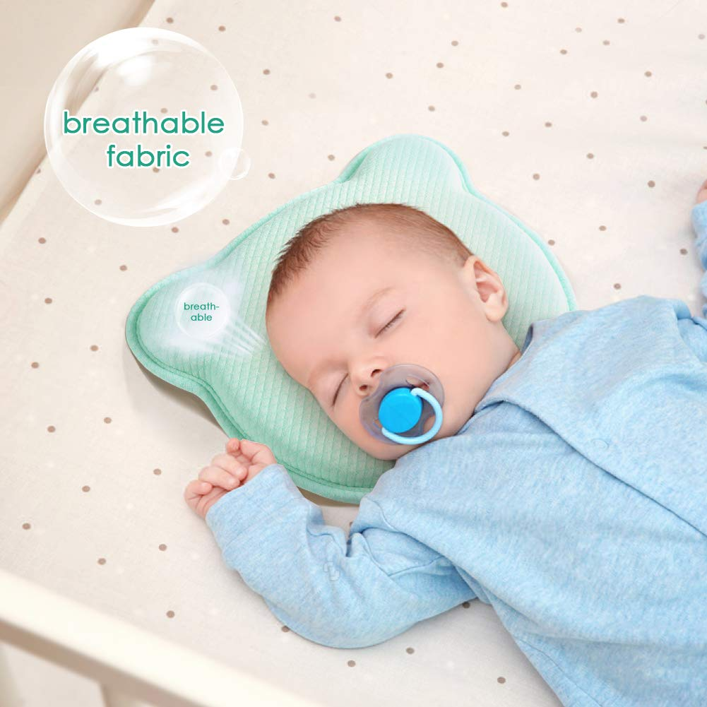 Baumwolle Gr/ün Baby Kopf Gestaltung Kissen f/ür Neugeborene aikiddo atmungsaktivem Memory-Schaum Kissen zum Schlafen Kopf St/ütze Infant sch/ützende Kissen mit Bio Kopfkissenbezug 0-12 Monate